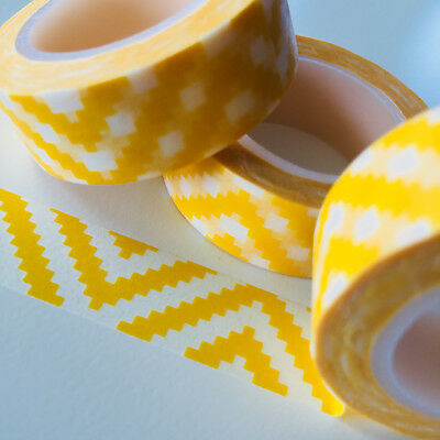 Washi Tape Yellow Aztec 15Mm X 10Mtr Roll Planner Wrap Craft Scrap