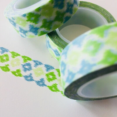 Washi Tape Green Batik 15Mm X 10Mtr Roll Planner Wrap Craft Scrap