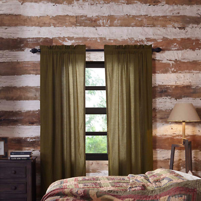 """TEA CABIN PLAID Country Primitive Rustic Lined 84""""L PANEL CURTAINS Green Tan"""