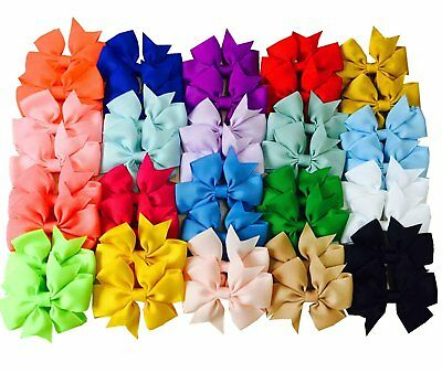 "Big Elephant 40pcs Kids Baby Girls 3"" Alligator Clip Ribbon 20 Pairs Hair Bows"