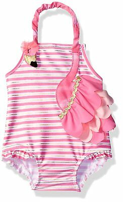 Mud Pie Baby Girls Swimsuit One Piece, Flamingo, 9-12 Months