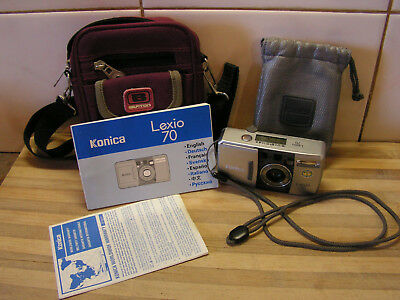 Konica Lexio 70 35mm camera with Warranty, Instructions & Case, Like New, Remote