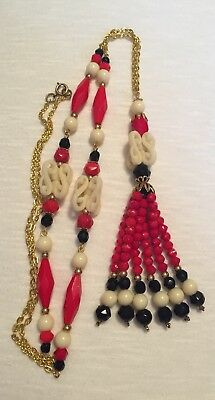 Vintage 1920's Red Black Faceted Glass Bead Art Deco Sautior Tassle Necklace