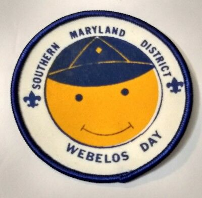 Southern Maryland District Webelos Day BSA Boy Scouts Round Patch Happy Face Cub