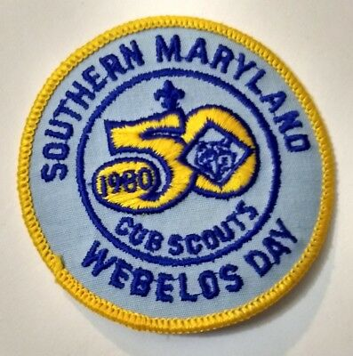 """1980 Webelos Day 50th Cub Southern Maryland BSA Boy Scouts Round 3"""" Patch"""