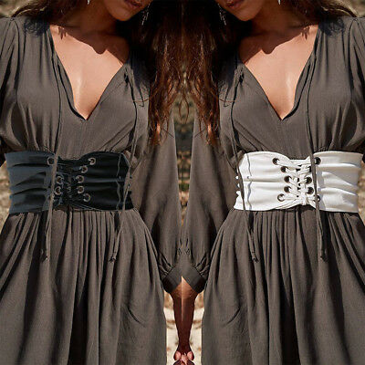 46ab944e3f Women s Vintage Lace Up Stretch Waist Belt Wide Elastic Corset Waistband