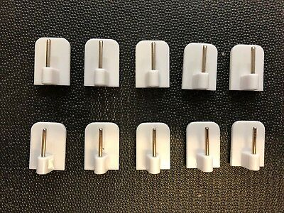 10 X Stick On Curtain Wire Hooks UPVC Frame Self Adhesive Net Rail Rod Pin White