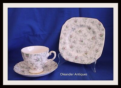 Tuscan Fine English China Trio in Pink with grey leaves pattern No; 9396H