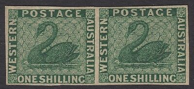 Western Australia 1860 1/- deep green swan watermark imperforate pair