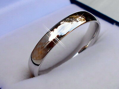 Genuine 925 Sterling Silver Comfort fit Wedding Band Ring 4mm