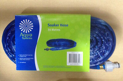 30M Soaker Hose 12Mm Lawn Yard Grass Plants Watering Uv Stabilised Blue New