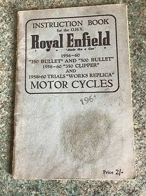 Royal Enfield 350 Bullet & 500 Butter & 1958 - 60 Clipper Instructions Book