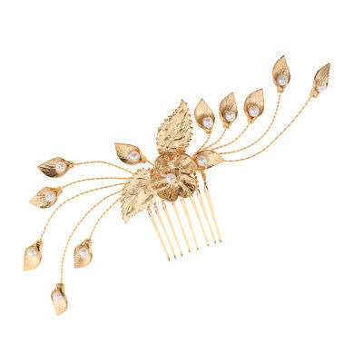 Fashion Gold Leaves Pearls Hair Comb Clip Wedding Party Bride Hair Jewelry