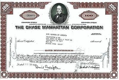 The Chase Manhattan Corporation, 1970 (100 Shares) sig. Rockefeller + Patterson