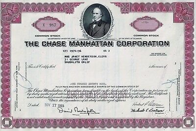 The Chase Manhattan Corporation, 1970 (200 Shares) sig. Rockefeller + Patterson