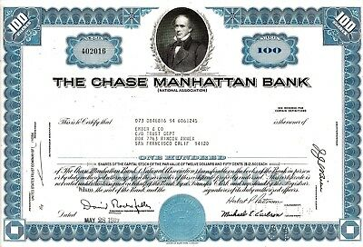 The Chase Manhattan Bank, New York, 1969 (100 Shares) sig. Rockefeller/Patterson