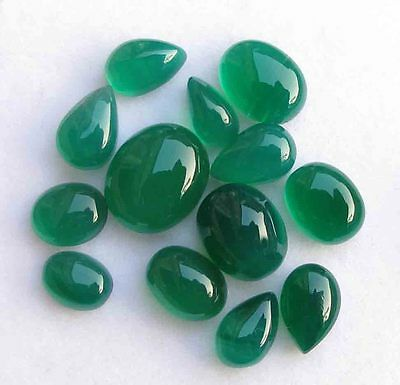 27.30 Cts GENUINE NATURAL GREEN ONYX OVAL CABOCHON LOOSE GEMSTONE LOT