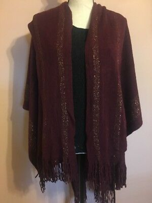 Womens Winter Solid Knitted Poncho Cape Shawl Sweater Burgundy New In Bag