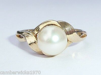 9ct Gold Pearl Ring, Size N