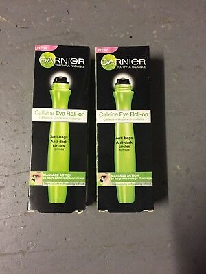 2 X Garnier  Skin Naturals Caffeine Under Eye Roll On - 15ml - Free UK P&P