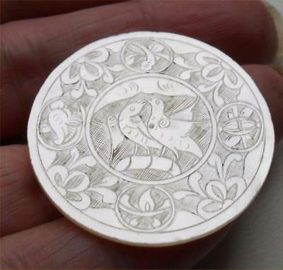 NICE QUALITY ANTIQUE MOTHER OF PEARL CHINESE GAMING COUNTER CHIP ROUND ~ c1770