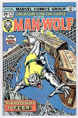Creatures On The Loose Feat. Man-Wolf #34 Marvel Comics 1975 Vf George Perez Art