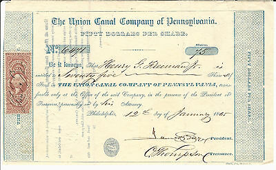 1865 PENNSYLVANIA The Union Canal Company of Pennsylvania Stock Certificate