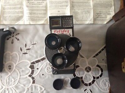 Mansfield Holiday Meter Matic 8mm Cine Movie Camera With Case & Strap