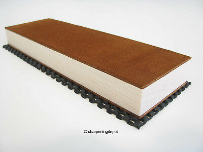 Suede Leather Strop Block Sharpen Tools Knives Razors Two sided + Compound