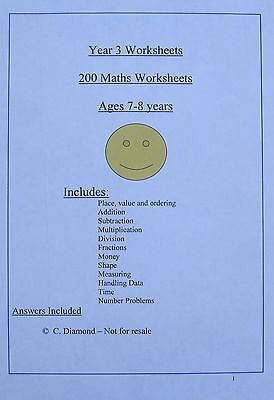 200  Year 3  Maths  Worksheets -  Numeracy Resource for KS2 on CD