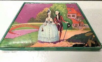 Vintage boxed six HAND EMBROIDERED Ladies handkerchiefs Crinoline Lady Gent Box