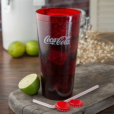 NEW Coca-Cola Cups Red Plastic Tumbler 24-Ounce Restaurant Grade, Set of 6