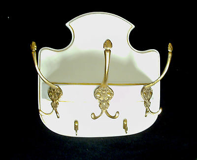 Coat Rack rounded, Chippendale Style, Cottage White 6 Brass Hooks, 50s Germany