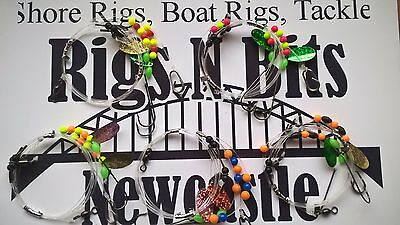 5 Sea fishing Rigs - 2 hook flappers - Cod, Bass, Dogfish, Whiting, Coalfish 3/0