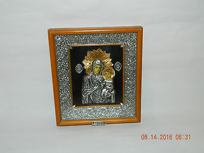 Magnificent Greek Russian Orthodox  Madonna and child Silver and Gold Icon