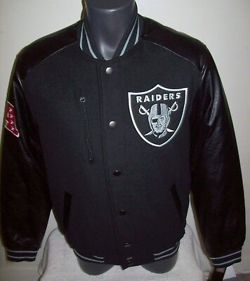 timeless design d1b9e a0c73 OAKLAND RAIDERS WOOL Body Jacket with Faux Leather Sleeves Jacket S M L XL  2X