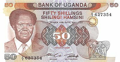 Uganda 50/-  ND. 1985  P 20 Prefix C/4  Uncirculated Banknote , G. WM2