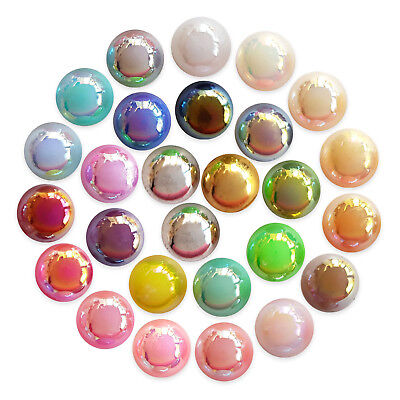 50pcs AB Half Round Flatback Pearl Gems Decoden Embellishment Scrapbook Craft