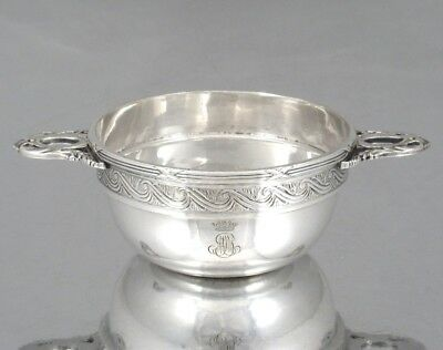 Antique French ChristofleSmall Silver Plate Bowl, Monogram, Crown of a Marquis