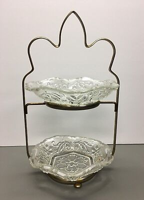 Vintage Two Tier Glass Candy Dishes With Metal Stand - Early 1970's