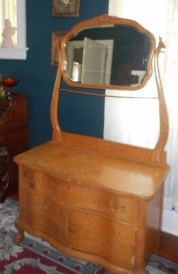Vintage Birdseye Maple Washstand /Commode Chest With Mirror