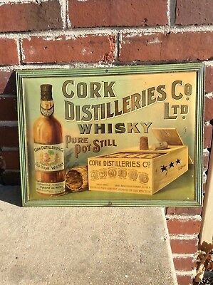 Pre prohibition 1910's self framed 0riginal  whiskey tin litho advertising sign