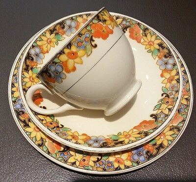 Lovely 1930s Art Deco Swinnertons Ivory English Bone China Cup & Saucer Trio