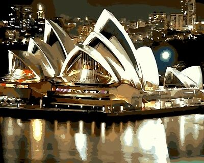 Paint by Numbers Kit 40x50cm with FRAME - Sydney Opera House Evening Sky