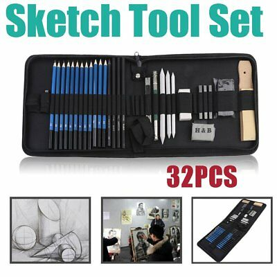 32pcs Portable Charcoal Drawing Sketch Pencil Set Non-toxic Paper Pen w/Bag XZS
