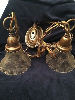 Vintage Hanging Swag Double Lamp Ornate Glass Brass Ceiling Hanging Chain Light