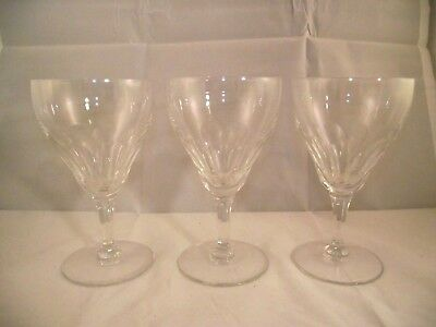 Set of 3 Val St Lambert Riviera Clear Water Goblets