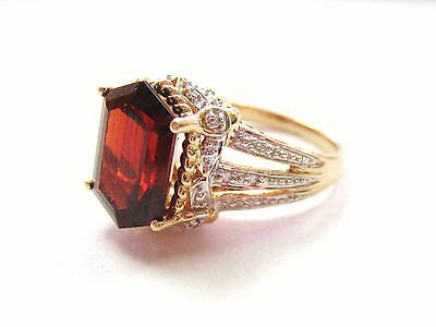 STUNNING Vintage Estate Ring MEDA 14k Yellow Gold Garnet & Diamond Ring size 6
