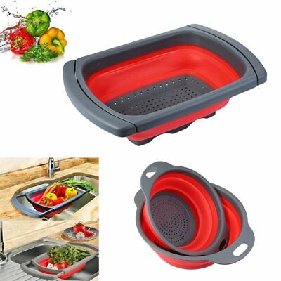 Kitchen Collapsible Over the Sink Silicone Colander Strainer Drain Basket Filter