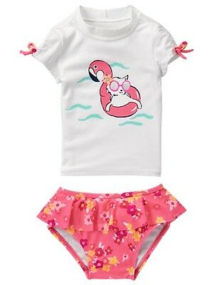 NWT Gymboree Girls Kitty Rash Guard Set Swimsuit 2 PC Toddler 12-18-24,2T,3T,4T